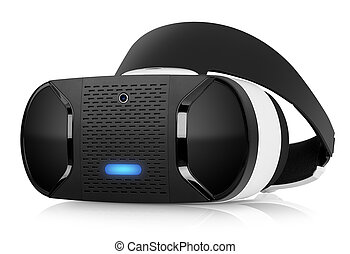 VR virtual reality headset half turned front view isolated...
