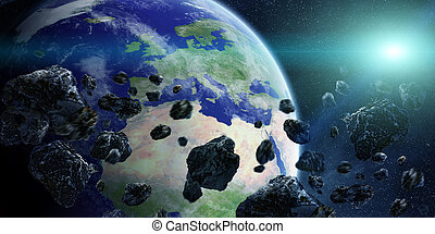 Meteorite impact on planet Earth in space - View of the...