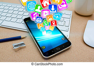 Modern mobile phone with icons - Modern mobile phone in...