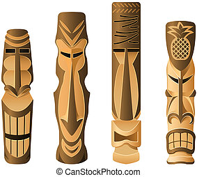 Tikis - Four different wooden Hawaii Tikis on the white