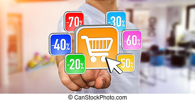 Young man shopping during sales period