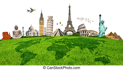Illustration of famous monument on green grass - Famous...