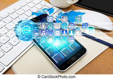 Modern mobile phone with digital icons - Modern mobile phone...