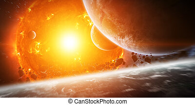 Exploding sun in space close to planet - Sun exploding close...