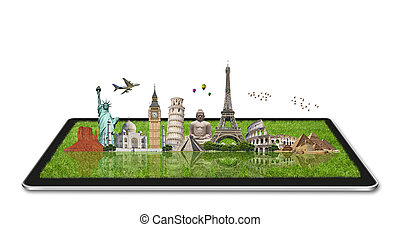 Monuments of the world on a tactile tablet - Famous...