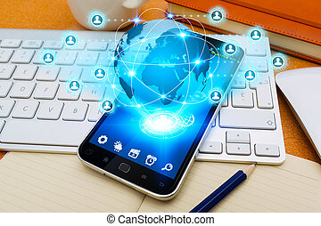 Mobile phone with social network application