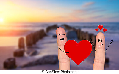Happy finger couple in love celebrating Valentine day -...