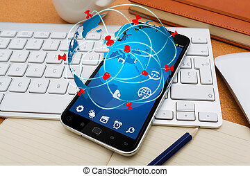 Modern mobile phone with travel icon application - Modern...