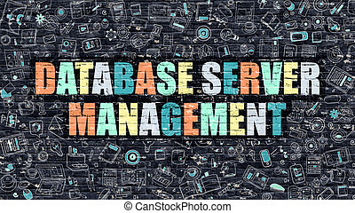 Database Server Management on Dark Brick Wall - Multicolor...