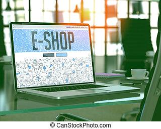 E-Shop - Concept on Laptop Screen - E-Shop - Closeup Landing...