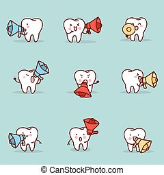 cartoon tooth with speaker set - cute cartoon tooth with...