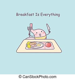 cute cartoon stomach eat breakfast, great for health care...