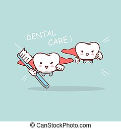 cartoon super tooth with toothbrush
