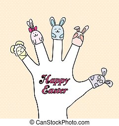 marionette toys on the fingers - puppet toy rabbits dressed...