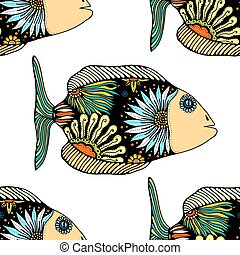 seamless pattern with fish - seamless pattern with Hand...