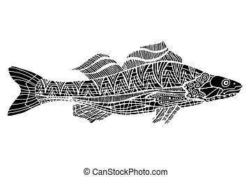 Tangle Patterns stylized Fish - Monochrome Tangle Patterns...
