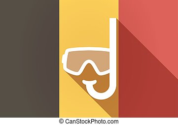 Long shadow Belgium flag with a diving goggles