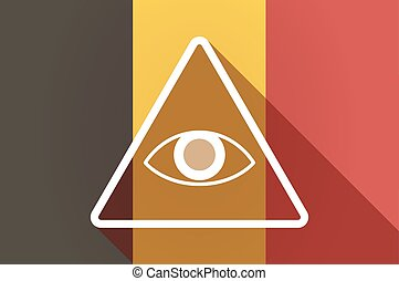 Long shadow Belgium flag with an all seeing eye -...