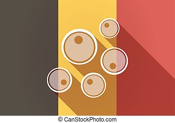 Long shadow Belgium flag with oocytes - Illustration of a...