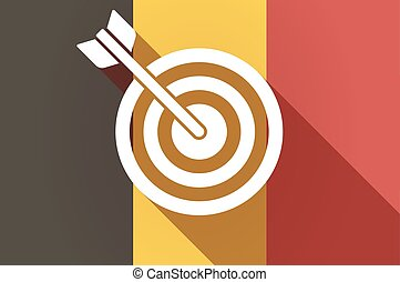 Long shadow Belgium flag with a dart board - Illustration of...
