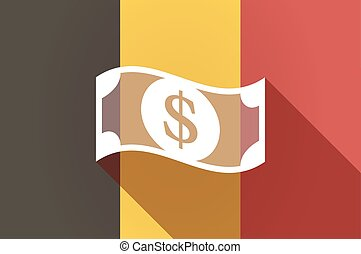 Long shadow Belgium flag with a dollar bank note -...