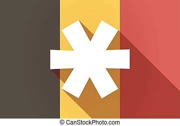 Long shadow Belgium flag with an asterisk - Illustration of...