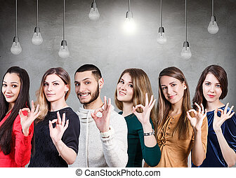 People showing OK sign - Business people showing OK sign...