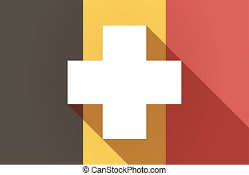 Long shadow Belgium flag with a pharmacy sign