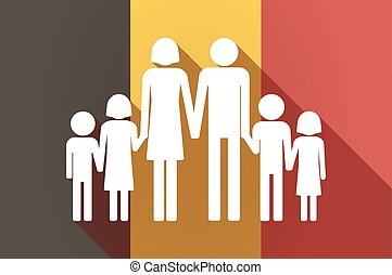 Long shadow Belgium flag with a large family pictogram -...