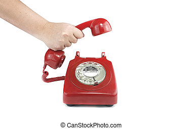 Answering an old fashioned red telephone - Old fashioned...