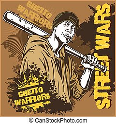 Hooligan with baseball bat Ghetto Warriors Gangster on dirty...
