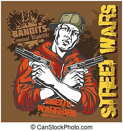 Gangster with two pistols 9mm. Vector illustration.