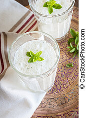 Mint Lassi - Salted Mint Lassi a popular yogurt drink...