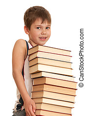 I want to know everything - A inquisitive boy is holding a...