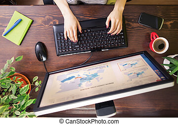 Freelancer using computer top view