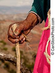 mão, antigas, mulher, SUL, América, Peru