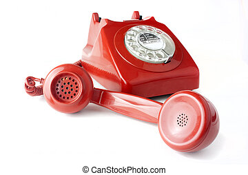 Answering an old fashioned red telephone - Red old fashioned...