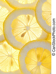 Lemon slices background - Fresh macro lemon slices...