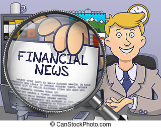 Financial News through Magnifying Glass Doodle Concept -...