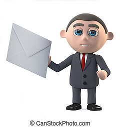 3d Businessman has mail - 3d render in a cartoon style of a...