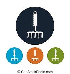 Garden Hand Rake Icon - Hand Rake Icon, Four Types of...