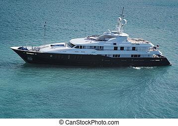 Huge luxury yacht in the waters of St. Thomas, US Virgin...