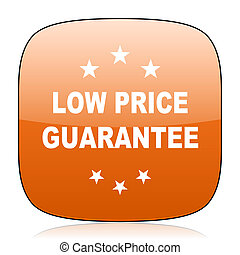 low price guarantee orange square web design glossy icon -...