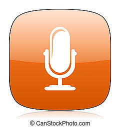 microphone orange square web design glossy icon - microphone...