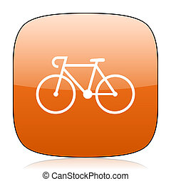 bicycle orange square web design glossy icon - bicycle...
