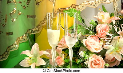 Wedding toast - Champagne in hands of bride and groom