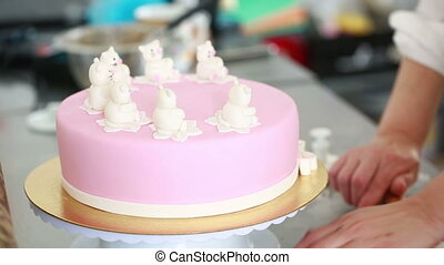 Chef decorate the cake. decoration of the mastic