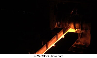 Hot rolled a hot billet - Stages of production of pig iron...