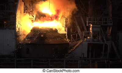Sparks and fire during the purging process iron oxygen -...