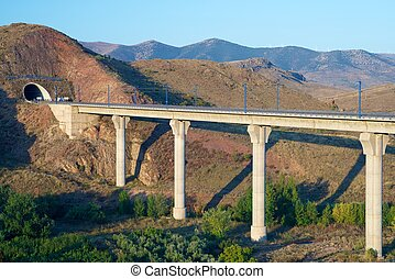 Viaduct - view of a high-speed viaduct in Purroy, Zaragoza,...